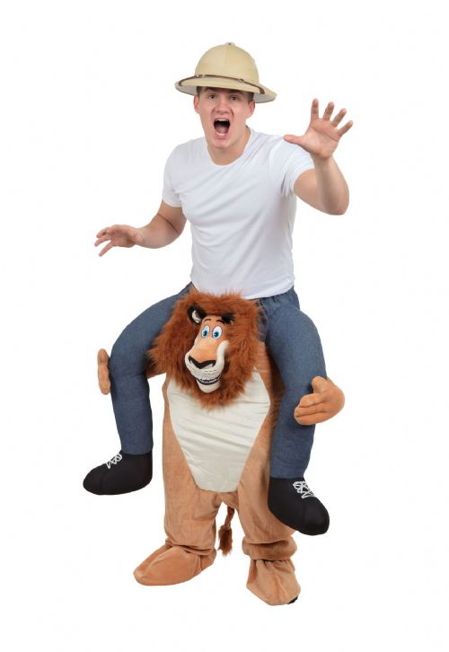 Adults Lion Piggy Back Costume Jungle King Animal Fancy Dress Outfit